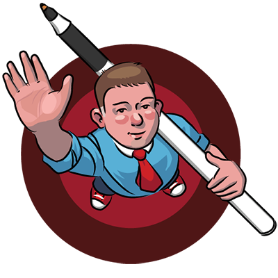 Vector illustration of a person waving at teh viewer and holding a large ball point pen. Seen in a birds-eye view.
