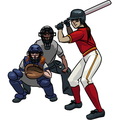 Vector image of a batter, a catcher and an umpire.