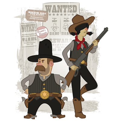 Vector illustration of two old west characters standing in front of a wanted poster.