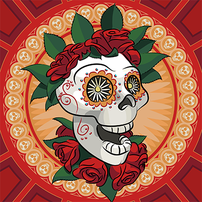 Vector illustration of a sugar skull.
