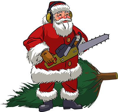 Vector Illustration of Santa with a chainsaw and a recently-cut Christmas tree.