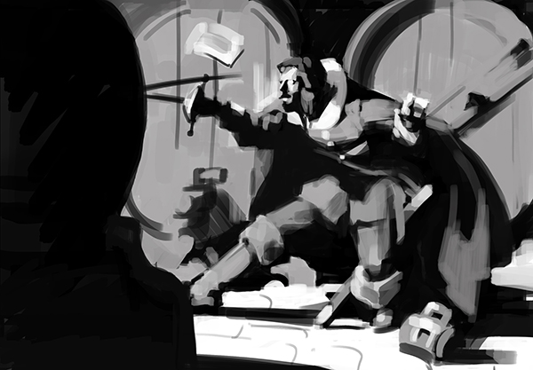 Grayscale composition study of a Mead Schaeffer illustration.