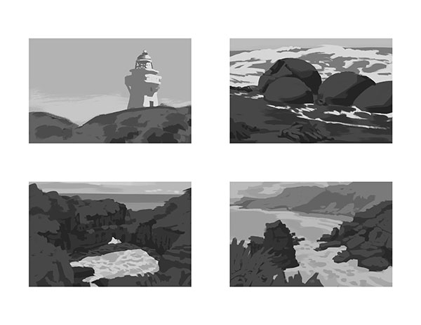 20-minute value studies of photographs by Noah Bradley