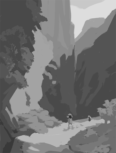 Composition study of a painting by Carl Spitzweg