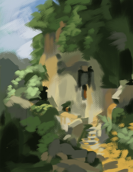 Color study of a painting by Carl Spitzweg