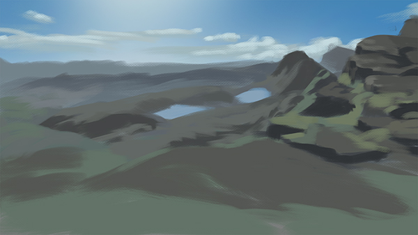 Color study of mountains