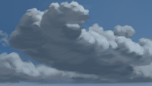 Color study of clouds