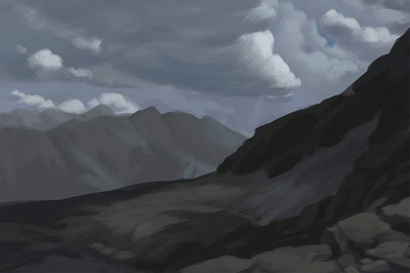 Color study of mountains and clouds