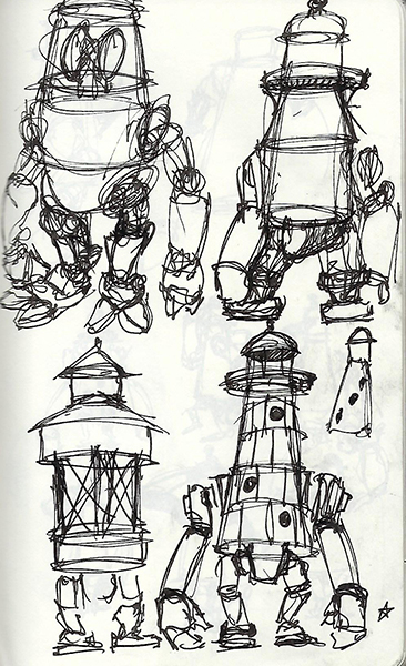 Ink sketch of lighthouses and robots.