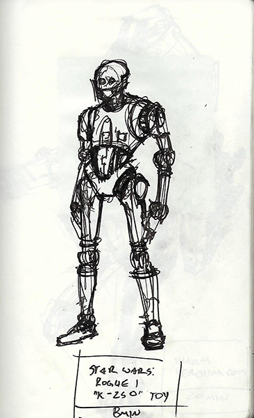 Quick study sketch of a K-250 action figure from Star Wars: Rogue 1.