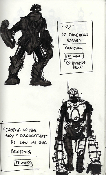 Sketches of robot illustrations by Takehiko Hoashi and Ian McQue.