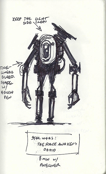 Quick sketch of a droid from Star Wars: the Force Awakens.