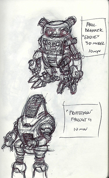 """Quick sketches of """"Eddie"""" by Paul Braddock and a Protectron robot from Fallout 4."""