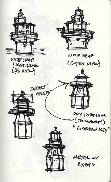 Quick ink sketches of lighthouses.