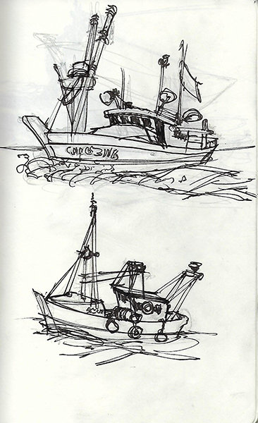 Quick ink sketches of fishing boats.