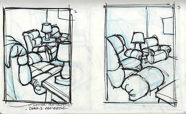 Quick ink sketches of recliners in a living room.
