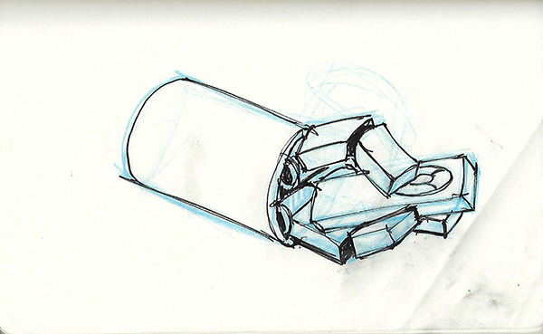 Concept sketch of a simple robot hand holding a remote control.
