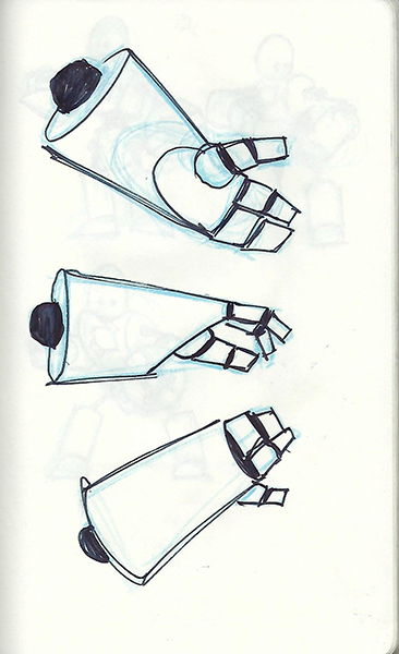 Concept sketch of a simple robot hand.
