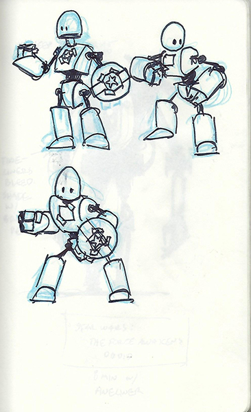 Concept sketch of a simple, kid-sized robot.