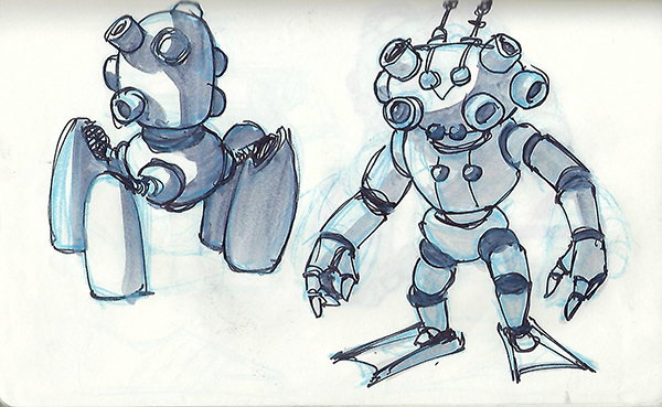 Quick sketches of robot concepts, using technical pens and markers.