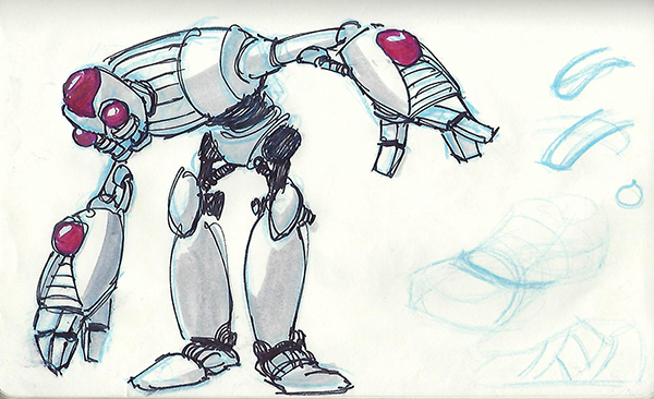 Quick sketches of a robot concept, using technical pens and markers.