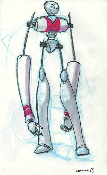 Quick sketches of a robot concept, using pencils and markers.