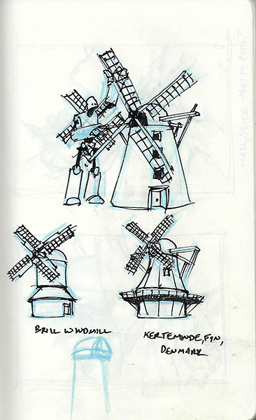 Quick ink sketches of a windmill robot.