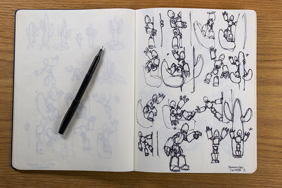 Quick pose studies for an illustration of a robot.