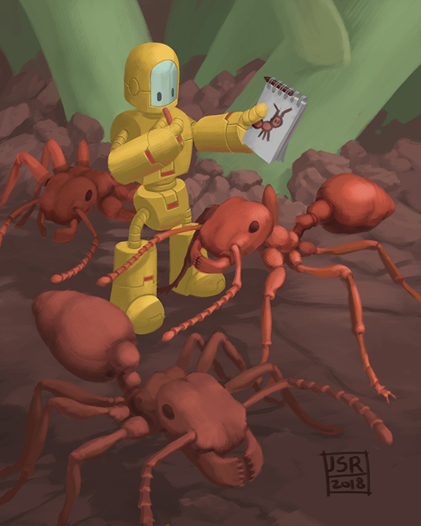 A digital illustration showing a very small robot making a crayon sketch of ants.