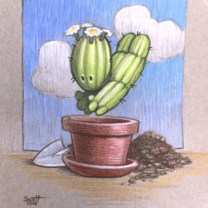 A colored pencil drawing of a cactus creature diving into a flower pot.