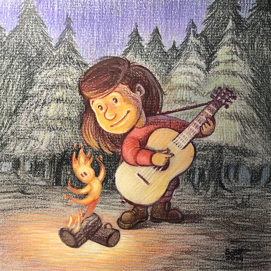 A girl plays the guitar while a small fire spirit dances on a pile of wood.