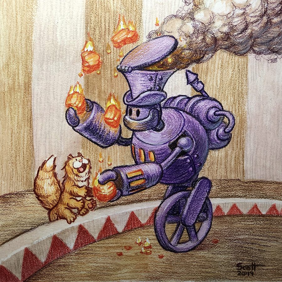 A purple steam-powered robot juggles glowing coals while a cat-like creature with extra legs looks on.