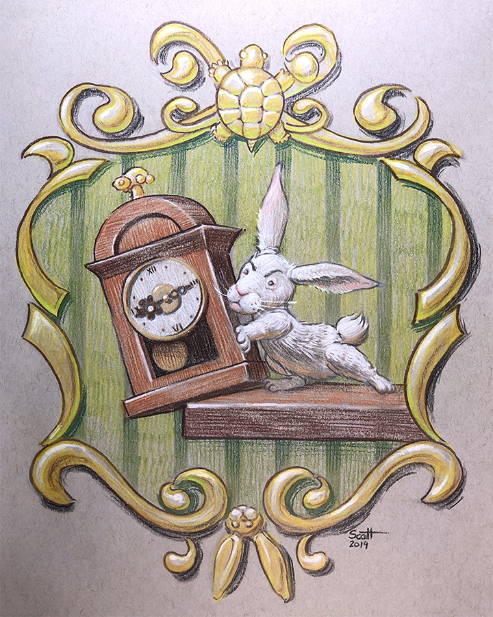 An impatient bunny pushes a clock off the edge of a shelf. The clock and the gold frame surrounding the image both have turtle motifs.