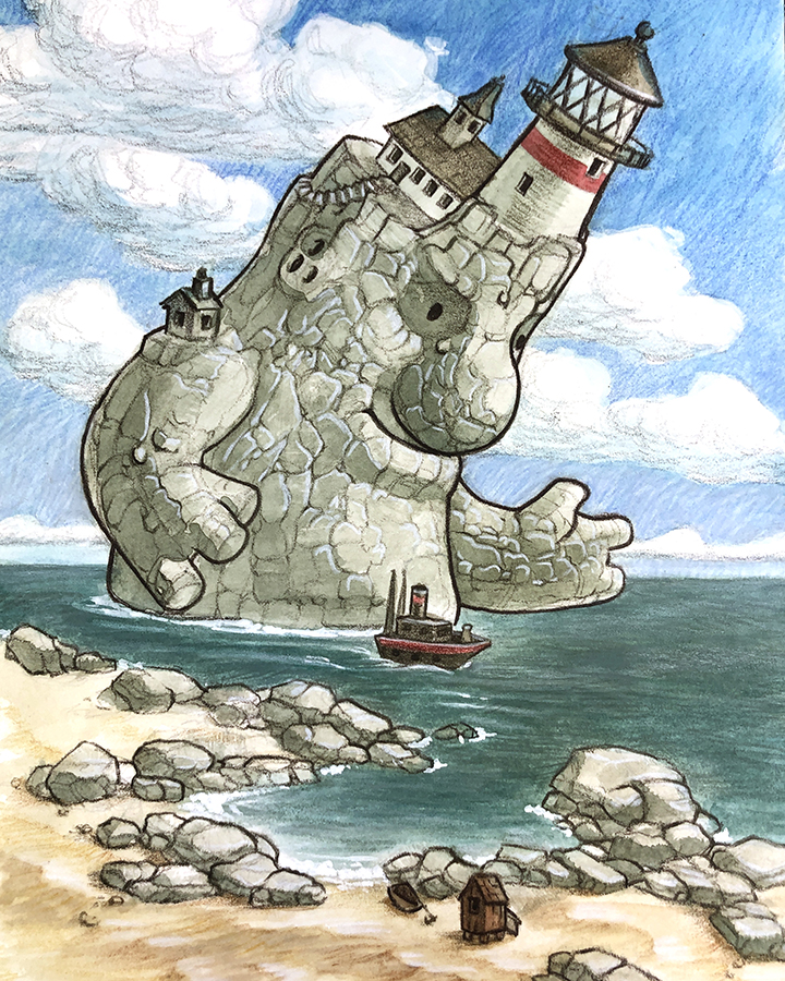 A stone giant with a lighthouse on their head guides a boat across the water.