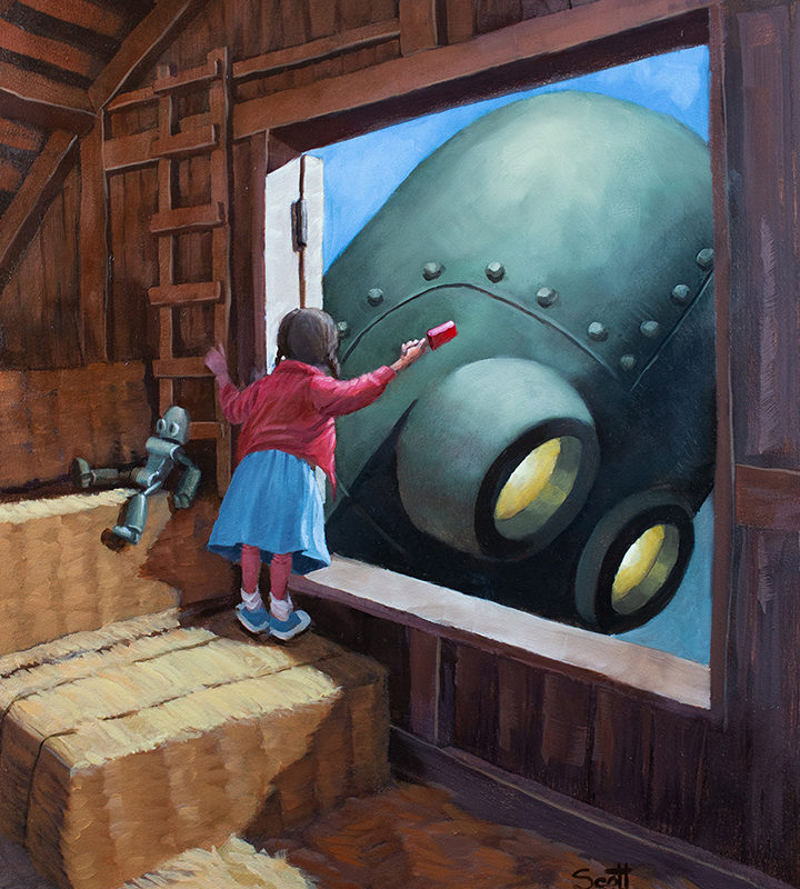 An illustration of a girl in a hayloft, waving to a giant robot inside. A doll-sized version of the robot sits next to her.