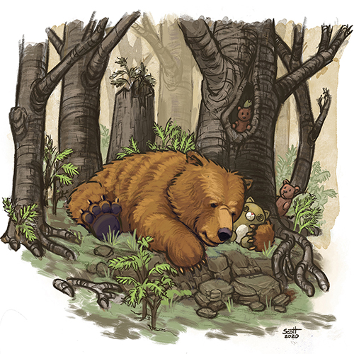 Illustration of a bear sleeping in the woods.