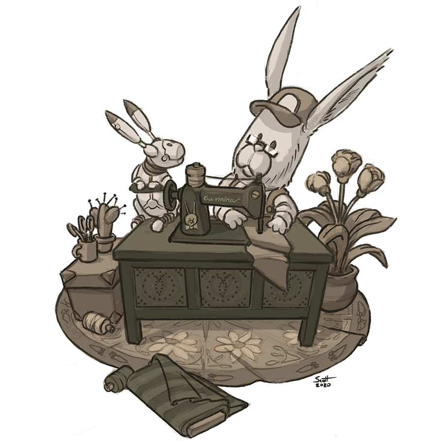 Illustration of a bunny, a bunny-shaped robot and a sewing machine