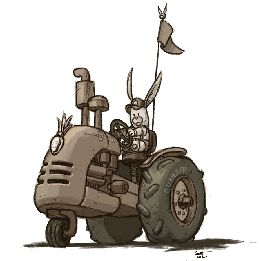 Illustration of a bunny on a tractor