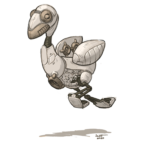 Illustration of a bird-shaped robot