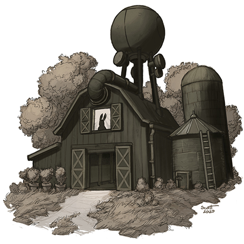 Illustration of a barn with a radar tower on the roof