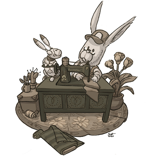 Illustration of a bunnyu, a bunny-shaped robot and a sewing machine