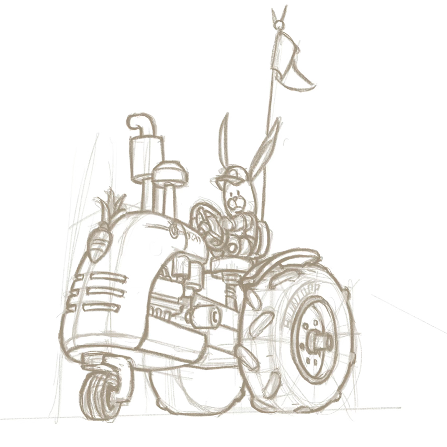 Concept sketch of a bunny on a tractor