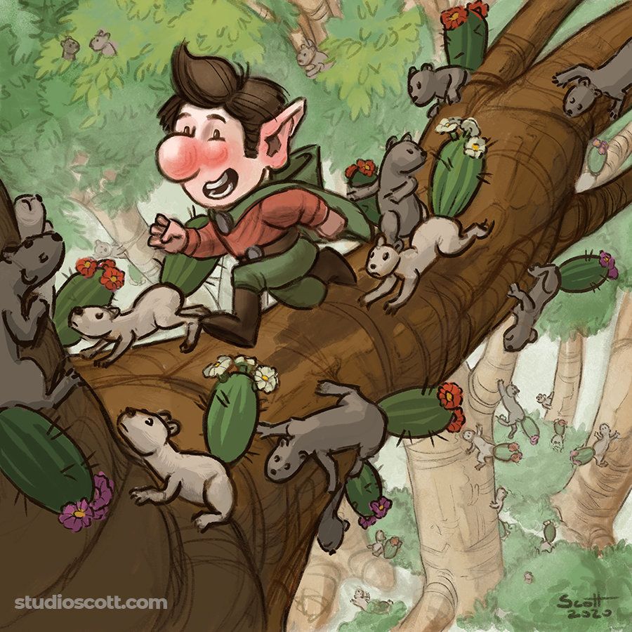 Illustration of a gnome and several cactus-tailed squirrels on a tree branch.