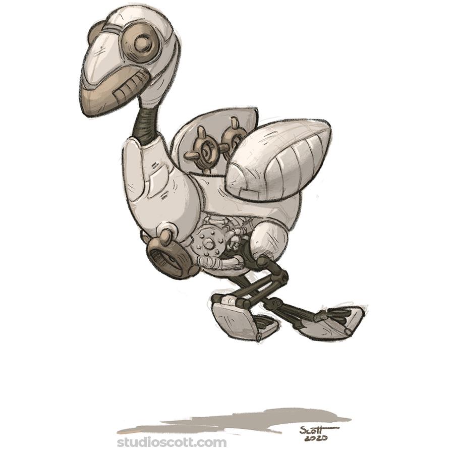 Illustration of a bird-shaped robot.