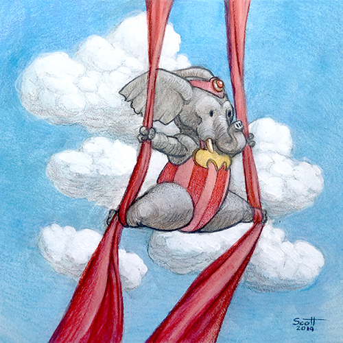 Illustration of an acrobatic elephant.