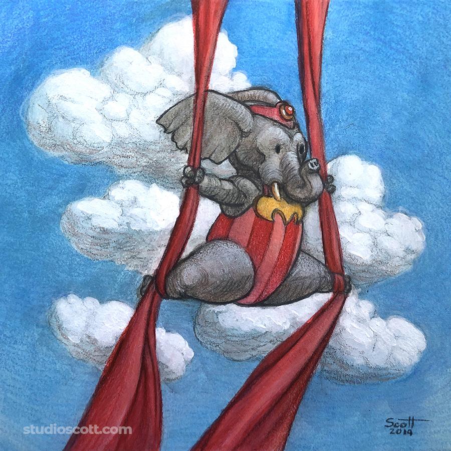 Illustration of an acrobatic elephant.
