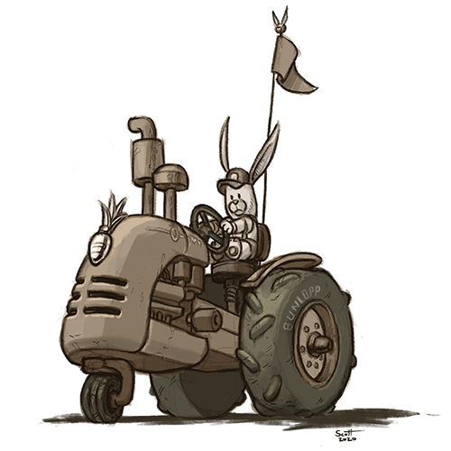Illustration of a bunny driving a tractor.