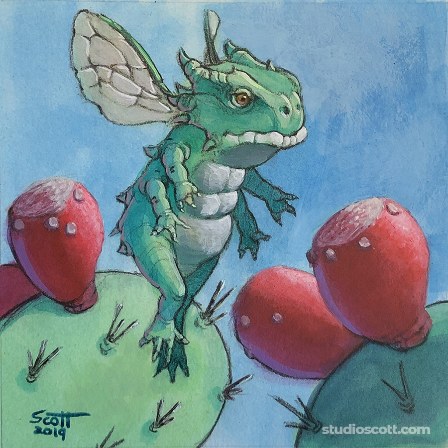 Illustration of a small dragon with some cactus fruit.