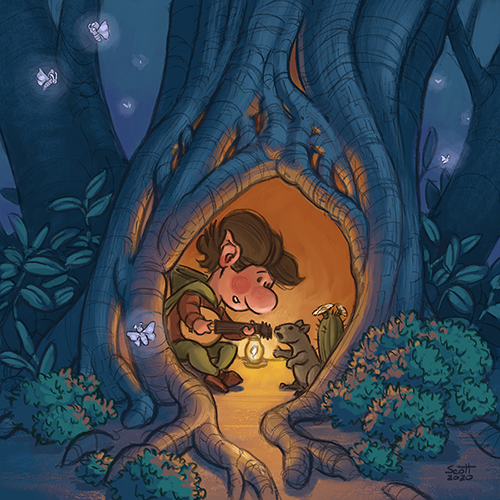 Illustration of a gnome and a squirrel inside a hollow tree.
