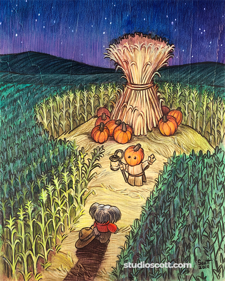 Illustration of a dog in a hat and a harvest spirit in a corn field.